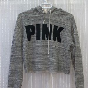 White and grey cropped hoodie